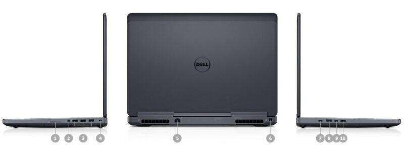 لپتاپ استوک Dell مدل Precision 7510 i7 - پورتها