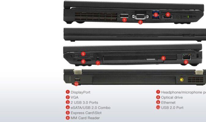 لپتاپ استوک Lenovo مدل ThinkPad W520 پورت ها