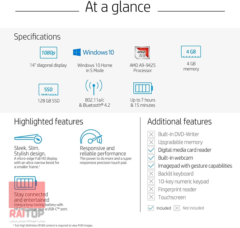 لپ تاپ استوک HP مدل 14-dk0002dx مشخصات