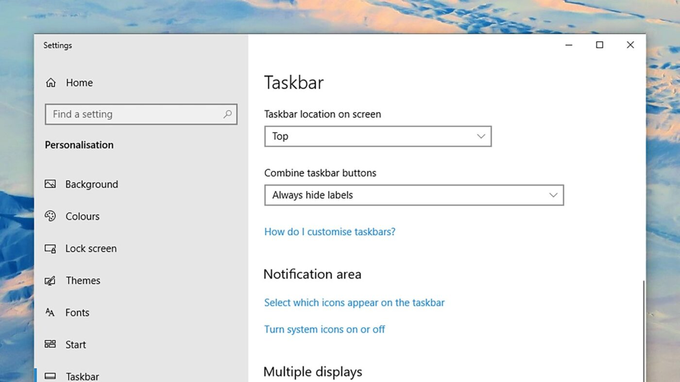 Taskbar Location یا جایگاه نواروظیفه