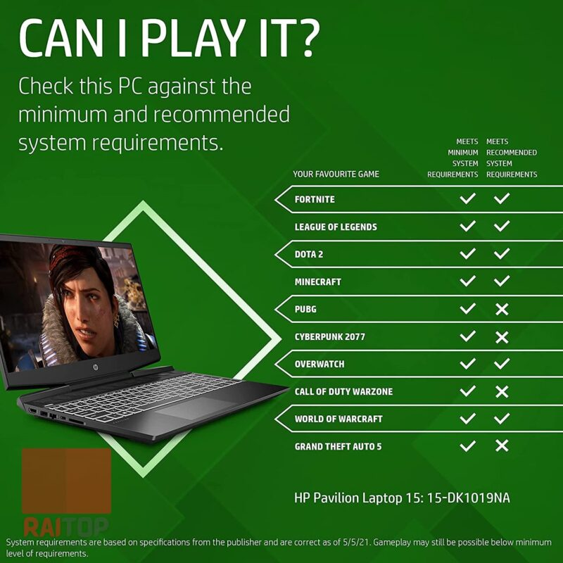لپ تاپ استوک 15 اینچی HP مدل Pavilion Gaming 15-DK1 بازی هایی که اجرا میکند