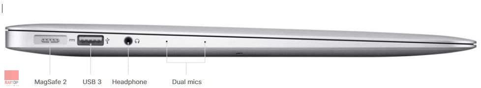 لپ تاپ استوک 13 اینچی Apple مدل MacBook Air 2017 پورت های چپ