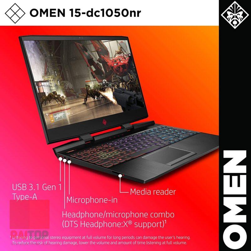 لپ تاپ گیمینگ 15 اینچی اپن باکس HP مدل 15-dc10 i7-9750H پورت ها و اتصالات