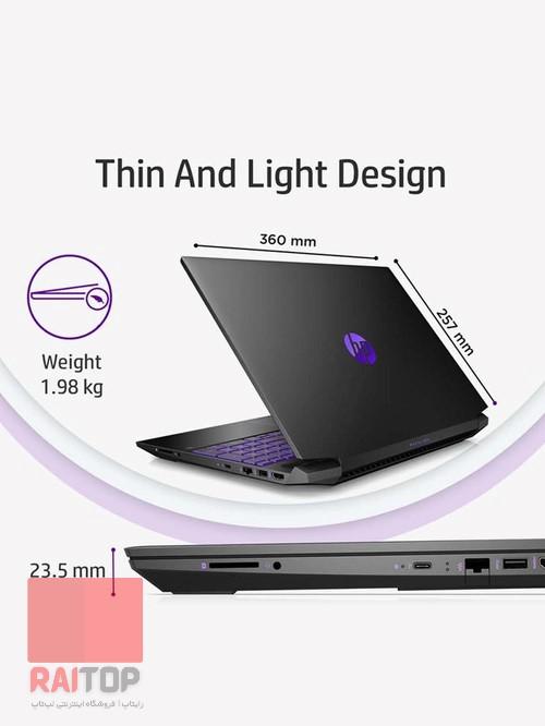 لپ تاپ گیمینگ 15 اینچی HP مدل Pavilion Gaming - 15-ec0106a ابعاد و ساختار
